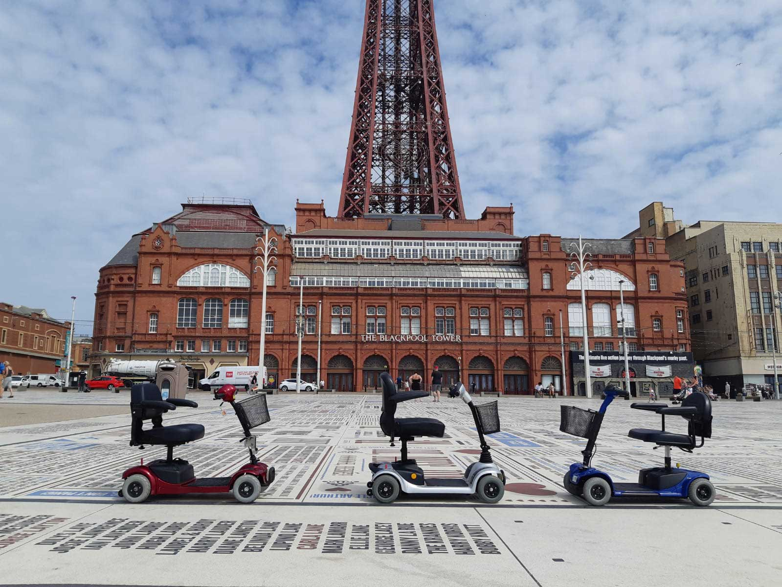 3 Mobility Scooters by Blackpool Tower